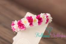 Frühlings-BLÜTENKRANZ  in weiß- pink OFFEN ZUM BINDEN ab Baby - Erwachsene