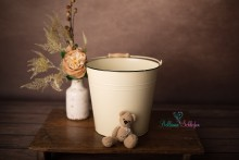 NEU!! creme/beige Metalleimer mit Holzgriff