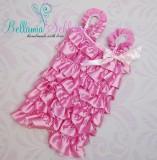 SATIN Rüschenbody MIT Trägern rosa-pink