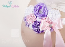 Bauchbinde  rosa-lila-weiß