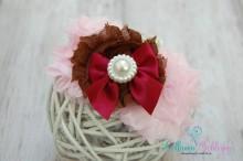 SET 23 Newborn-Kleinkind- SET Stirnband und SPITZENBODY Blumenmix-bordeaux