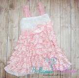 NEU!!!! Satin-Rüschenkleid weiß-Rosa für kinder ab 1-3 Jahre