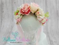 NEU!!! BLÜTENKRANZ mit GROSSEN Blüten  ROSA-CREME-TÖNE