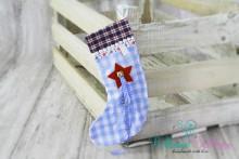 NEU! Weihnachts- SOCKE Babyblau-weiß kariert mit Glöckchen zum BEILEGEN / BEFÜLLEN