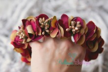 Wunderschöner HERBSTKRANZ aus bordeaux-goldbraunen Blüten