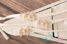 HBV125 NEU!!Vintageschleifen Haarband cremeweiß- nude