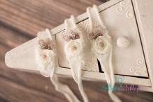 HBV137 NEU! cremeweiß-nudebraunes Vintagehaarband wunderschön