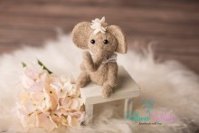 Süßes mini Filz-Elefantenmädchen  DEKO KEIN SPIELZEUG